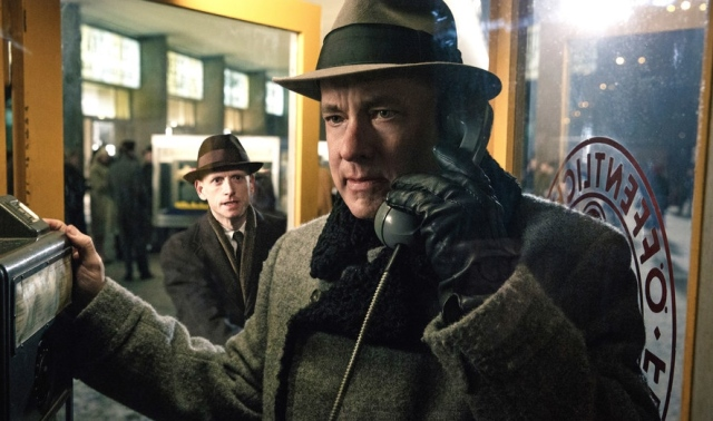 bridge of spies tom hanks steven spielberg cold war he's on the phone to someone maybe his agent